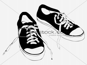 Athletic shoes, running shoes on white background