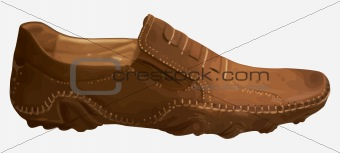 Casual contemporary leather shoes brown color on a white background