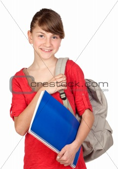 Student girl with backpack