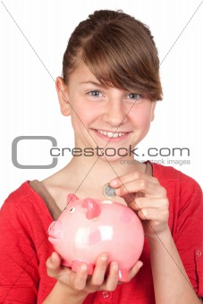 Funny girl with pink piggy-bank