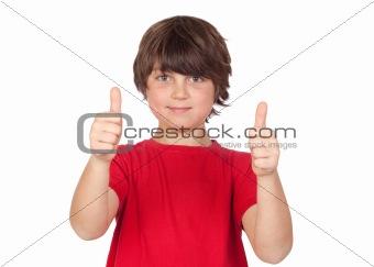 Freckled boy saying OK