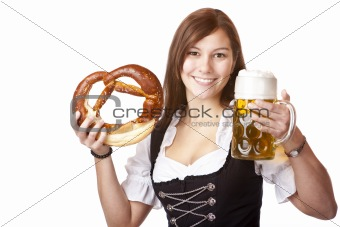 Happy Bavarian woman holding Oktoberfest beer stein and pretzel