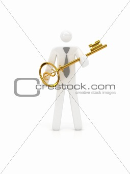 Man holding gold key