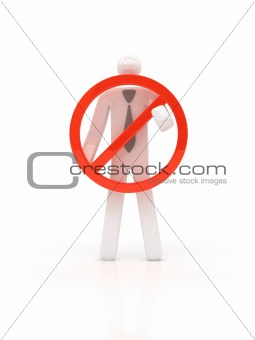 Business man holding prohibit symbol