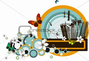 Abstract city-life grunge background.