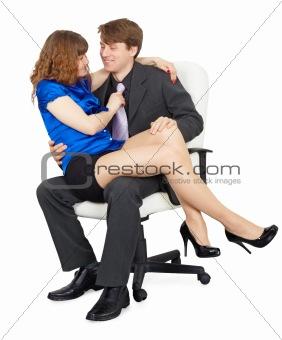 Beautiful girl - secretary in a lap at head