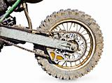 Rear wheel motorcycle for trial covered with mud