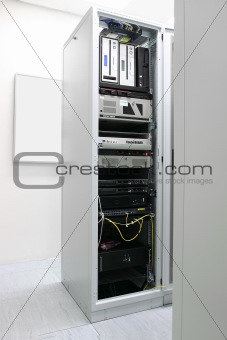Rack with network equipment