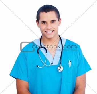 Portrait of self-assured male doctor wearing blue uniform