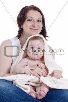 portrait of mother with her  little baby girl -isolated on white