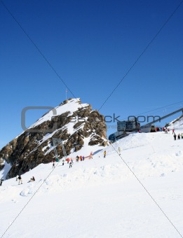 Alpine ski lift and slope