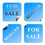 For sale and reduced labels