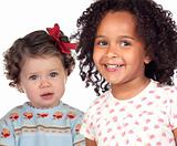 Two beautiful baby girls of different races
