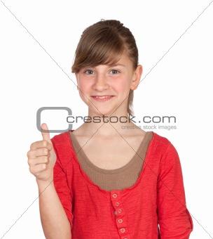 Adorable preteen girl saying OK