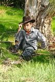 Outback boy in rugged bushland