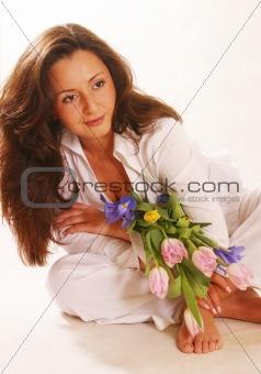 Portrait with a bouquet