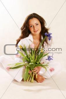 Portrait with a bouquet. (in colour)