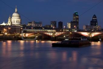 Bridge Blackfriars with St.Paul, Gherkin, City Thames Night London