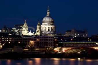 Bridge Blackfriars with St.Paul Cathedral at night in London