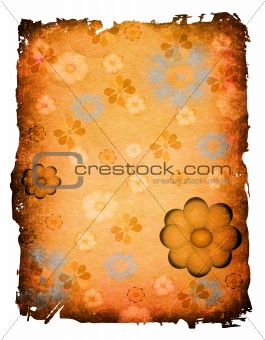 flowers on grunge paper