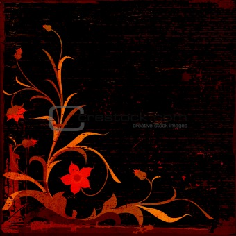 grunge floral composition