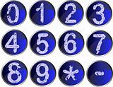 12 Blue Number Buttons