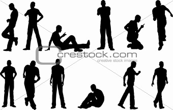 12 Male poses - sitting and standing