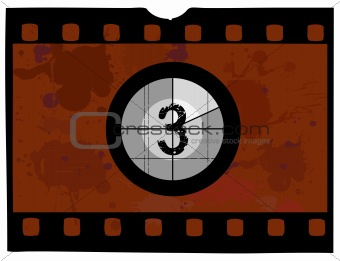 Old Fashioned film countdown at 3