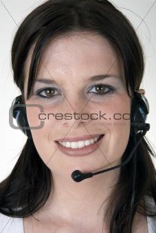 Smiling telesales girl