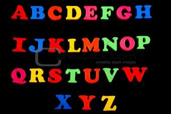 Alphabet in plastic letters