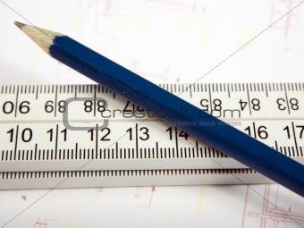 Folding ruler and pencil