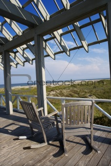 Beachfront deck on Bald Head Island, North Carolina.