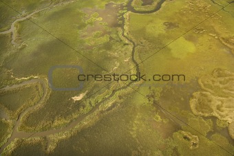 Aerial view of tributary on Bald Head Island, North Carolina.