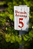 Beach access sign on Bald Head Island, North Carolina.