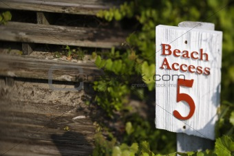 Beach access sign on Bald Head Island, North Carolina.