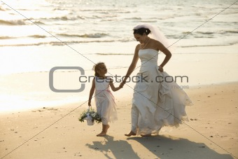 Bride and flower girl w