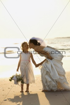 Bride and flower girl holding hands on beach.