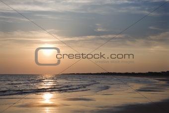 Beach at sunset.