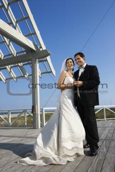 Bride and groom wedding portrait.