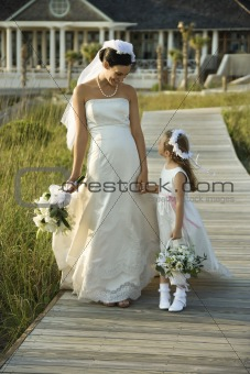 Bride and flower girl walking.