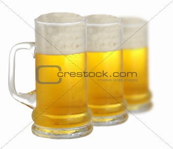 Three pints of beer