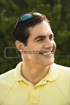Portrait of Caucasian man smiling.
