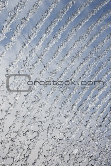 Abstract streams of water from fountain.