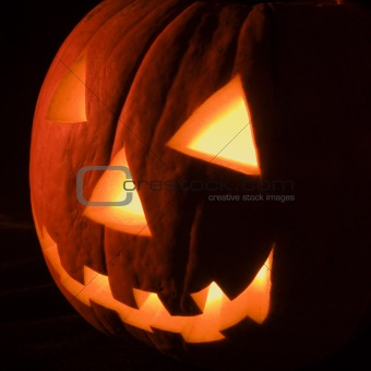 Glowing jack-o'-lantern.