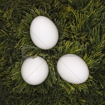 Three white eggs laying in grass.