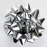 Silver Christmas bow.