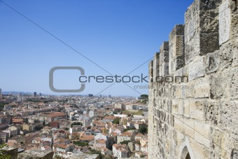 Aerial view of town from castle structure in Lisbon, Portugal.