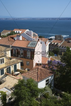 Aerial view of buildings on coast in Lisbon, Portugal.