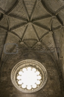 Ceiling and window in Jeronimos Monastery in Lisbon, Portugal.