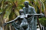 Statue of Eca de Queiros with female in Lisbon, Portugal.